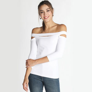 394a48d9f2e233 White Off Shoulder Keyhole 3Q Top